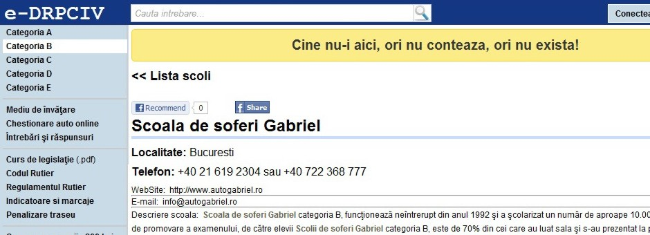 Chestionare online | Scoala de soferi Gabriel categoria B